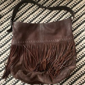 Lucky Brand Leather Fringe Hobo Bag